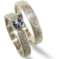 Eheringe, Trauringe SET aus Sterlingsilber mit Saphir - Trauringe, Hochzeitsringe, Verlobung - handgefertigt by SILVERLOUNGE
