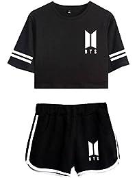 CTOOO 2018 BTS álbum De Primavera Y Verano De Ocio Expuestos Pantalones  Cortos Ombligo Traje De 25374aa26a43