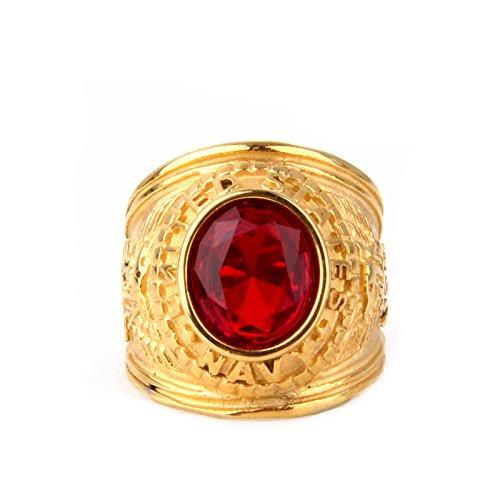 COPAUL Schmuck Herren-Ring,Zirkonia Diamant Edelstahl,Adler US ARMY,Farbe Gold Rot,Größe 54 (17.2)