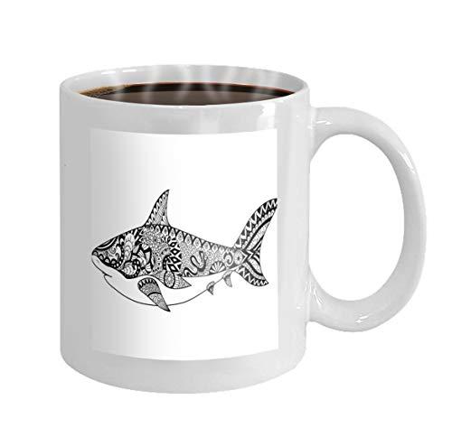 11 oz Coffee Mug shark line art design coloring book adult design other decorations Novelty Ceramic Gifts Tea Cup