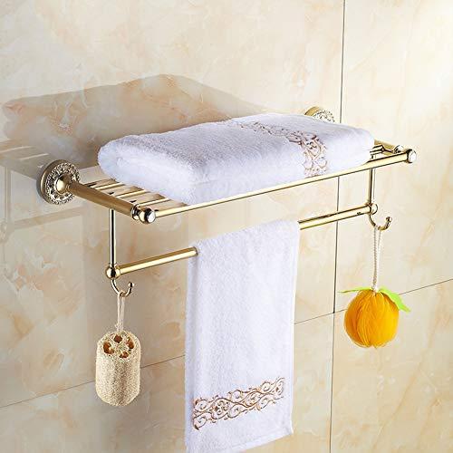 BAIVIT Europäischen Stil Rose Gold Handtuchhalter Wand Montiert Badezimmer Zubehör Handtuchhalter Doppelschicht Bad Handtuch Regal mit Haken,Gold