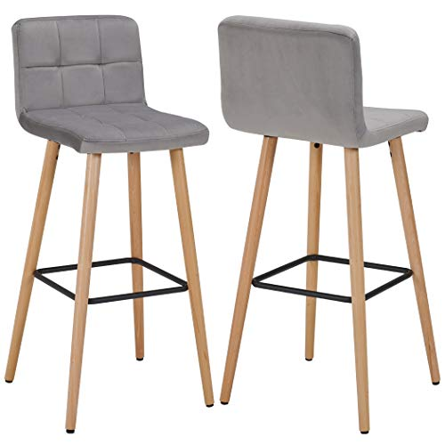 Duhome 2X Barhocker Barstuhl aus Stoff Samt Grau Gestell aus Buche Tresenhocker Bar Sessel gut gepolstert mit Lehne Farbauswahl 5117A