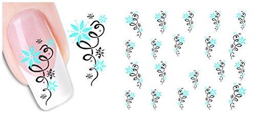 nicedeco-Trasferelli e autoaderenti Adesivi Decorazioni per unghie DIY Nail Arte Fiore Blu