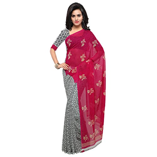 Kashvi Sarees Faux Georgette Pink & Multi Color Printed Saree With Blouse Piece ( 1200_1 )  available at amazon for Rs.259