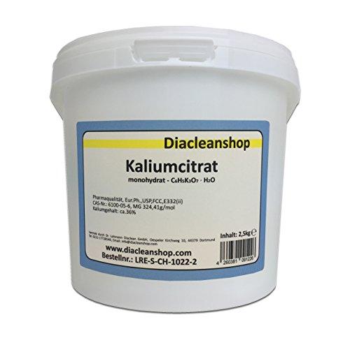Kaliumcitrat Monohydrat 2,5kg – Kaliumgehalt 36% – Pharmaqualität mind. 99% – Pulver – E332