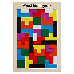 40 Stück Tetris Holzpuzzle Spielzeug Geometrisch Formen Tetris Tangram Holzpuzzles Lernspiele Baustein ab 2 3 4 5 6…
