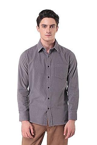 Pau1Hami1ton P-10 Homme Velours côtelé Chemise Slim Fit Manches longues Casual Coton Shirts(XL,Grey)