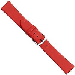 """Uhrbanddealer 16mm Ersatzband Uhrenarmband """"New Style"""" Rot ohne Naht Kalb Leder Band 172516s"""