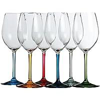 Marine Business Party-bicchieri di vino/acqua, 6 pezzi, policarbonato, trasparente, con base di colori