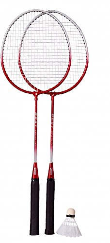 Best Sporting Badminton-Spiel Garnitur bestehend aus 2 Schlägerund 1 Badmintonball, blau/Silber oder rot/Silber, Farbe:rot/Silber