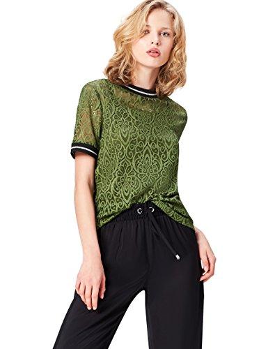 FIND Damen T-Shirt aus Baumwolle Lace High Neck Grün (Khaki), 42 (Herstellergröße: X-Large) (Neck High T-shirt)