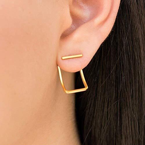 Gold Ohrstecker, Ohr Jacke, Ohrringe, geometrische Ohrringe, Vordere rückseitige Ohrringe, minimalistische Ohrringe, doppelseitige Ohrringe