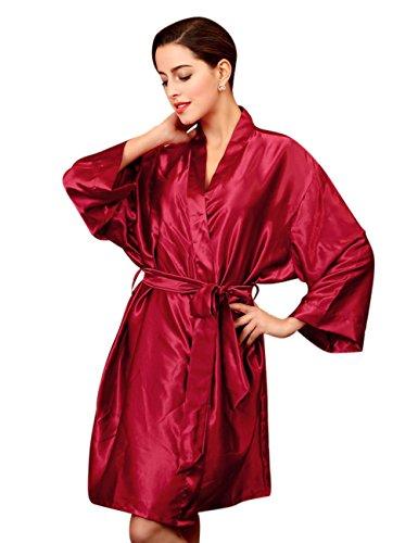 Menschwear Damen Nachtwäsche Kimono Robe Brautjungfer Bademantel Rot 4