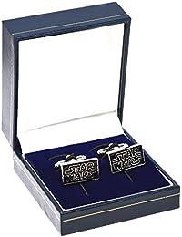 Star Wars Logo Gemelos–negro novedad Gemelos con plata inscripción en especial caja de terciopelo