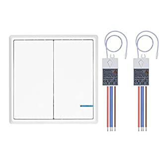 Lumiwell Wireless Light Switch Kit Outdoor 1900 ft Indoors 229 ft - Remote Switch Push Button Switch 2 Button 2 Way IP54 Dampproof Wall Light Switches (White Switch with Receivers)