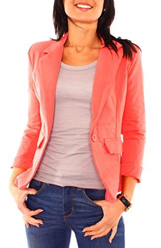 Damen Sommer Sweat Jersey Blazer Jacke Sweatblazer Jerseyblazer Sakko Kurz Gefüttert Langarm Uni Einfarbig Koralle XS - 34 (S)