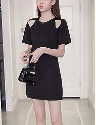 DD&Clothes Courte Noir Robe Femme Décontracté / Quotidien Grandes Tailles Chic de Rue,Couleur Pleine Col Arrondi Mini Manches CourtesCoton Polyester