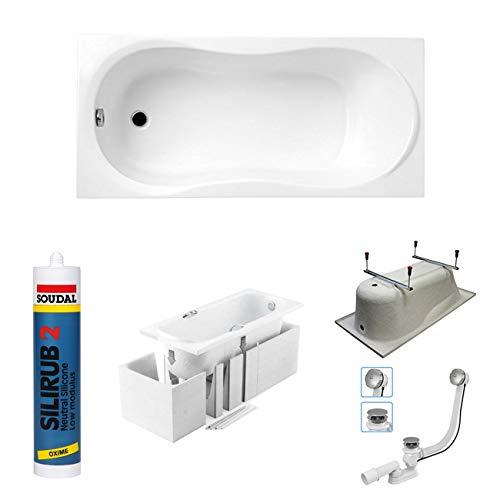 bestshop24.eu Premium Rechteck Badewanne Acryl Design 150x70 cm mit MONOLITISCHEM Wannenträger Füßen und Ablaufgarnitur GRATIS