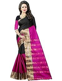 Shree Sanskruti Women's Poly Cotton Saree With Blouse Piece (Aura 16 Pink Black_Pink-Black)