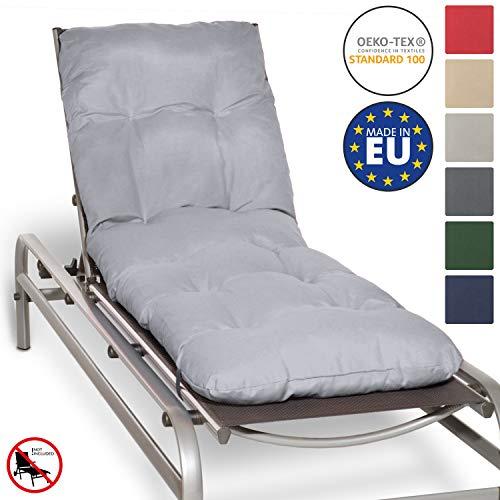 Beautissu Auflage für Garten-Liege Flair RL 190x60x8cm Sitz-Polster für Sonnenliege Schaumflocken-Füllung Hell-Grau erhältlich