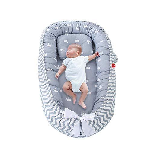 Perfuw Baby Lounger, Berceau Nouveau-né Portatif, Lit De Bébé Hypoallergénique - 100% Coton Respirant. Housse Lavable Résistant à La Pression, Utérus Simulé, Lit Bébé Bionique pour Chambre à Coucher