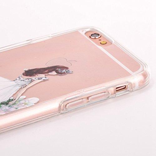iPhone 6 Plus Hülle,iPhone 6S Plus Case,iPhone 6S Plus Silikon Cover - Felfy Ultra Dünne Slim Full Body Transparent Soft Gel TPU Silikon Rahmen mit Plastic Back Case Schöne Bunte Muster Design Case Rü Weiße Hochzeit Mädchen