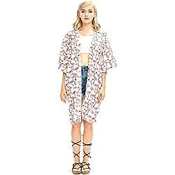 Shark Tooth Kimono de Playa Bohemio para Mujer Blanco con Flamencos 100 cm