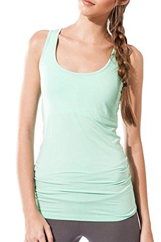 Sternitz Frauen Fitness, Maya Top, ideal für Pilates, Yoga und jeder Sportart, Bambusgewebe , ökologische und weich. Ärmel. (Aquamarin, Large) -