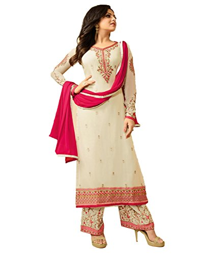 Jesti Designer Women\'s Faux Georgette Beige Embroidery Gown Latest Party Wear Designe Straight Anarkali Semi Stitched Free Size Salwar Suit Dress Material With Dupatta( LT-1803 -Dress Material )