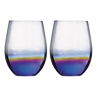 Artland Mirage Dof Lustre Iridescent Stemless Tumblers Set of 2 55cl