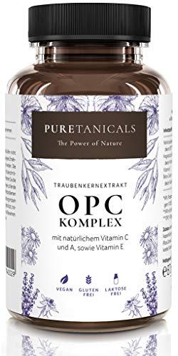 OPC Traubenkernextrakt Kapseln + natürlichem Vitamin C, A & E | Antioxidant Komplex hochdosiert laborgeprüft | 530mg reiner Extrakt | Weintraubenextrakt vegan ohne Magnesiumstearat aus Deutschland