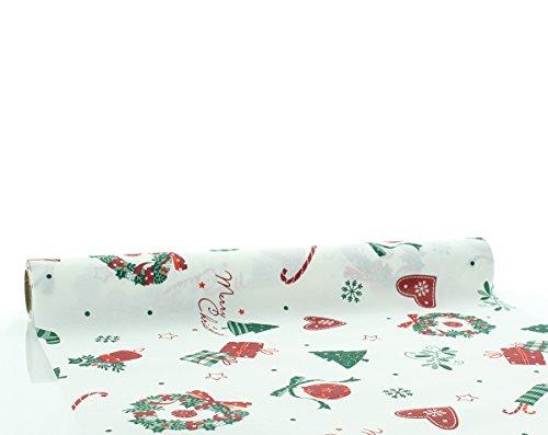Sovie Home Tischläufer Dreams / Linclass® Airlaid Tischläufer 40cm x 4,80m /Einmal- Tischdecken Rolle stoffähnlich / Weihnachten /Grün-Rot