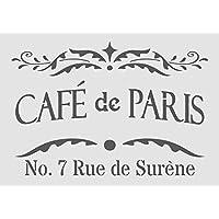 A5/A4/A3 Shabby Chic francés Vintage Mylar plantilla para estarcir de café de