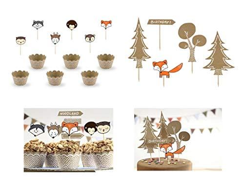 PS Dekoset Muffin Set Tortendeko Wald Waldtiere 29 teilig Kinder Geburtstag Kuchen Deko Muffin Wrappers Förmchen