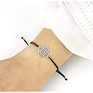 Armband Chakra LOTUSBLUME 925 Silber Schwarz-Silber