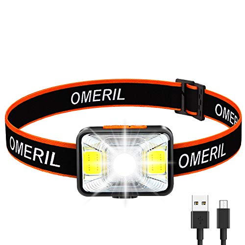OMERIL Linterna Frontal LED USB Recargable