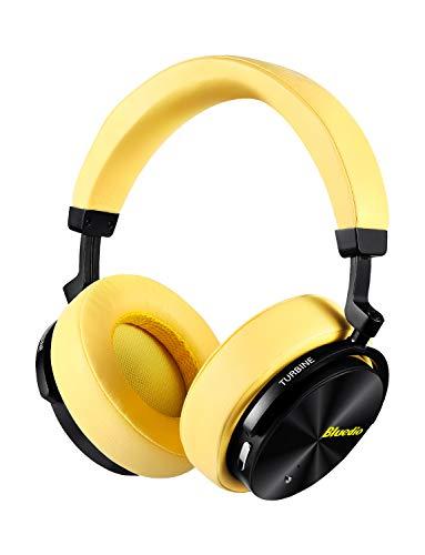 Auriculares Bluetooth inalámbricos de Cancelación de Ruido Activa, Auriculares estéreo portátiles, con micrófono para teléfonos y música (Amarillo)