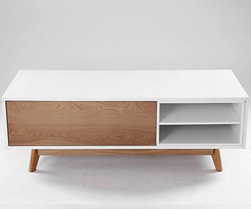 Meuble TV Design Annecy 134 cm Chêne et Blanc