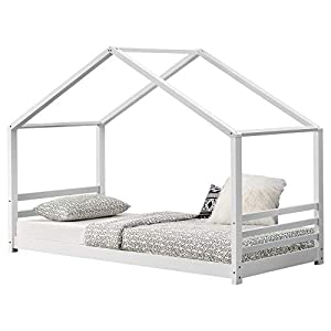 [en.casa] Kinderbett mit Lattenrost und Gitter 90x200cm Hausbett Holz Weiß Bettenhaus Bett Jugendbett