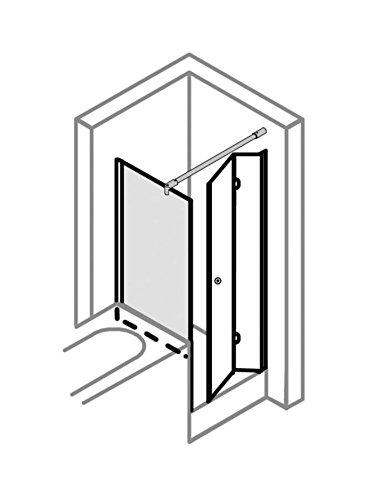 Duschkabine 90x90 verkürzte Seitenwand auf Badewanne, Typ 5005206 & 5235, Drehfalttür, Alu Silber Matt