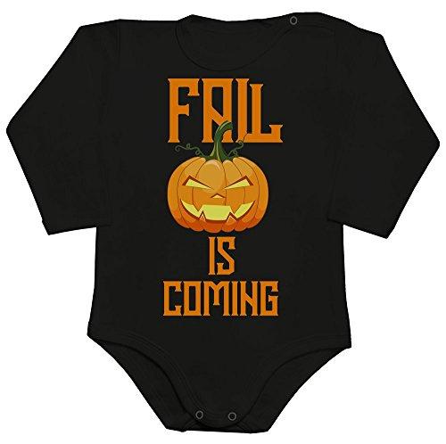 Fall Is Coming Smiling Halloween Pumpkin Baby Romper Long Sleeve Bodysuit Babyspielanzug XX-Large