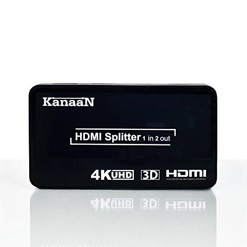 KanaaN HDMI Splitter 4K, HDMI 1x2 Splitter Switch UHD UHD-TV, 3D-Fähig, 1x HDMI-Eingang auf 2x HDMI Ausgänge | HDMI 4K Splitter bis 2160p
