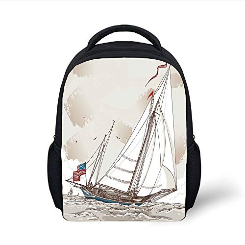 Kids School Backpack Vintage,Illustration of a Retro View of Antique American Yacht with Flags Ocean,Light Grey Tan White Plain Bookbag Travel Daypack