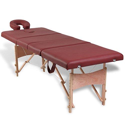 Vidaxl lettino pieghevole da massaggio portatile rosso 4 zone con telaio legno