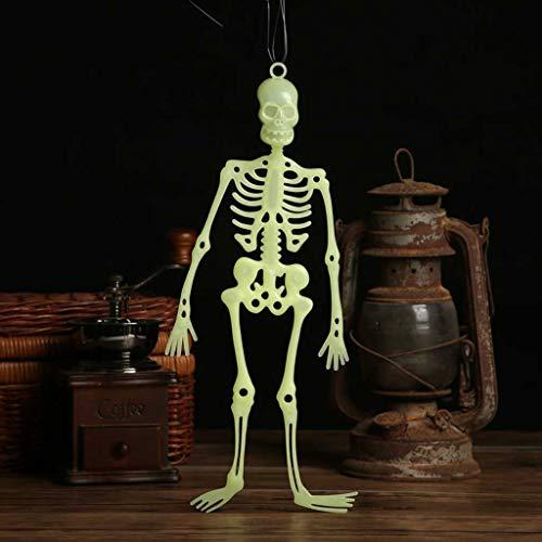 ToDIDAF Halloween Deko Leuchtendes Skelett Hängender menschlicher Körper Unheimlicher Schädel für Karneval Fasching Party Dekoration 32 cm