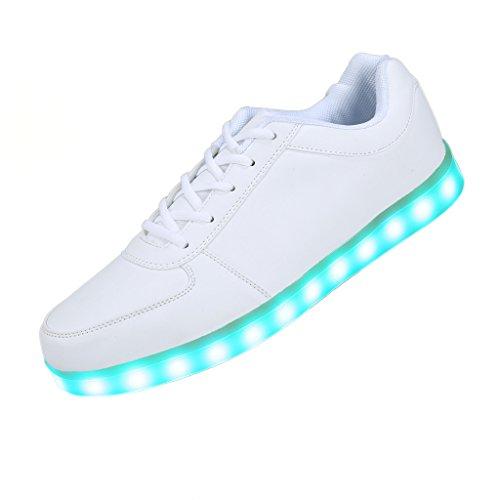 Farbwechsel USB Aufladen LED Leuchtend Sport Schuhe Sneaker Turnschuhe Sportschuhe für Damen Herren Jungen Mädchen Weiß Größe 39 (Led Licht Up Schuhe)