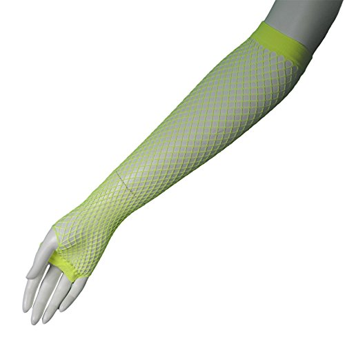 80's Yellow Long Fishnet Adult Gloves [Apparel]
