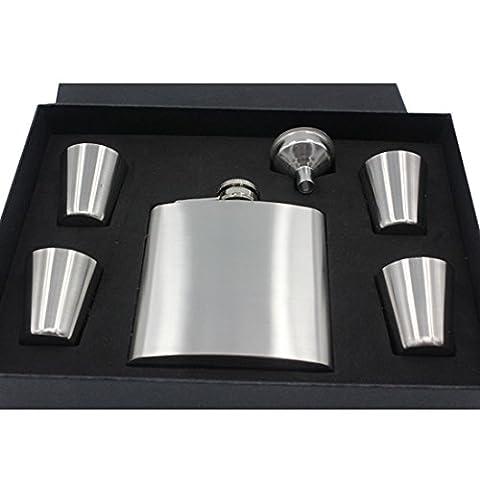 Enerhu Flasque Inox avec Entonnoir 4 Petites Tasses Elégant Cadeau