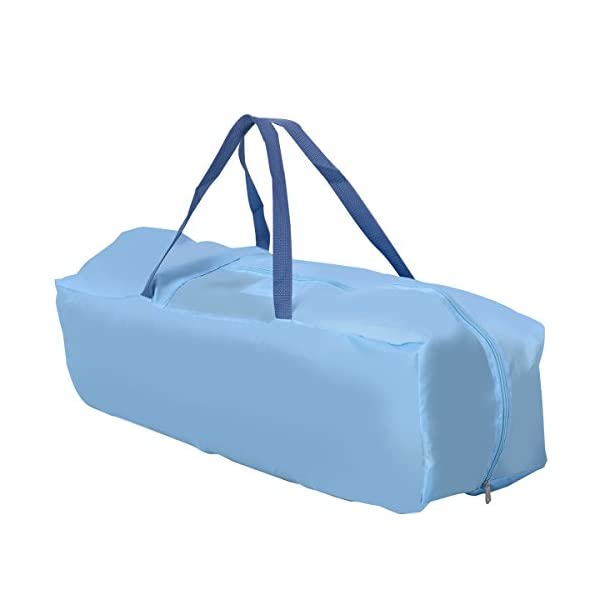 COSTWAY Portable Infant Baby Travel Cot, Bed Play Pen, Child Bassinet Playpen Entryway, with Mat 2 in 1 (Blue) Costway 【Excluded locations】Guernsey, JERSEY, Channel Islands, Isle of Man, Scilly Isles, Scottish Islands, PO BOX 【Folded Design】Due to its folding design, you can take it to anywhere as you like by packing it in the supplied carry bag, and it just takes you a while to fold or unfold it before using. 【See-through safety mesh】It features mesh cloth on both sides, this netted areas allow your baby to see out clearly as well as an onlooker to see in to her/him, and it also offers great ventilation for your baby. 7