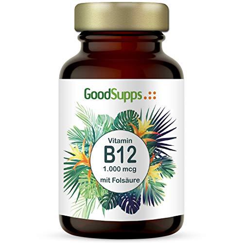 Vitamin B12-1000µg + Folsäure (B9) - 180 hochdosierte Tabletten - Zum Einführungspreis - Vorrat für 6 Monate - Vegan & ohne unerwünschte Zusätze - B12 hergestellt in Deutschland - GoodSupps®